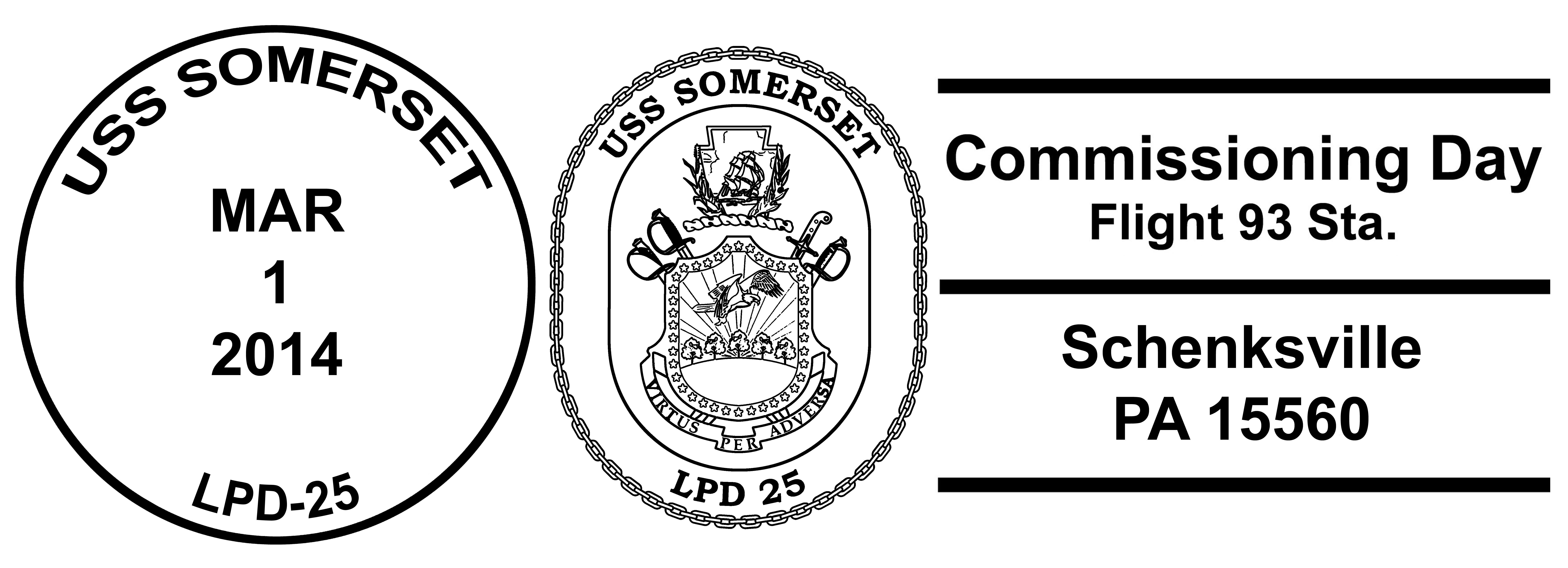 Sonderpoststempel USS SOMERSET LPD-25 Indienststellung SchenksvilleDesign: Wolfgang Hechler