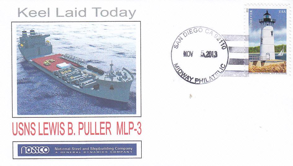 Beleg USNS LEWIS B. PULLER MLP-3 Keel Laying