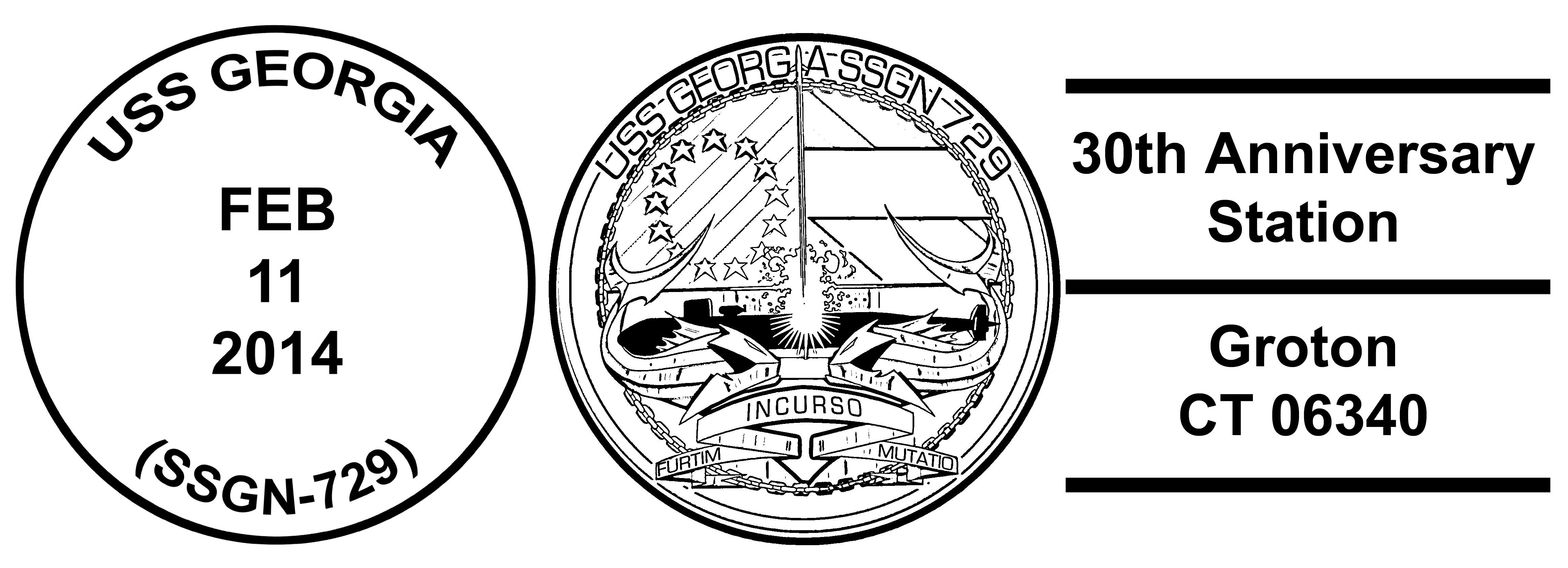 Sonderpoststempel USS GEORGIA SSGN-729 30 Jahre im DienstDesign: Wolfgang Hechler