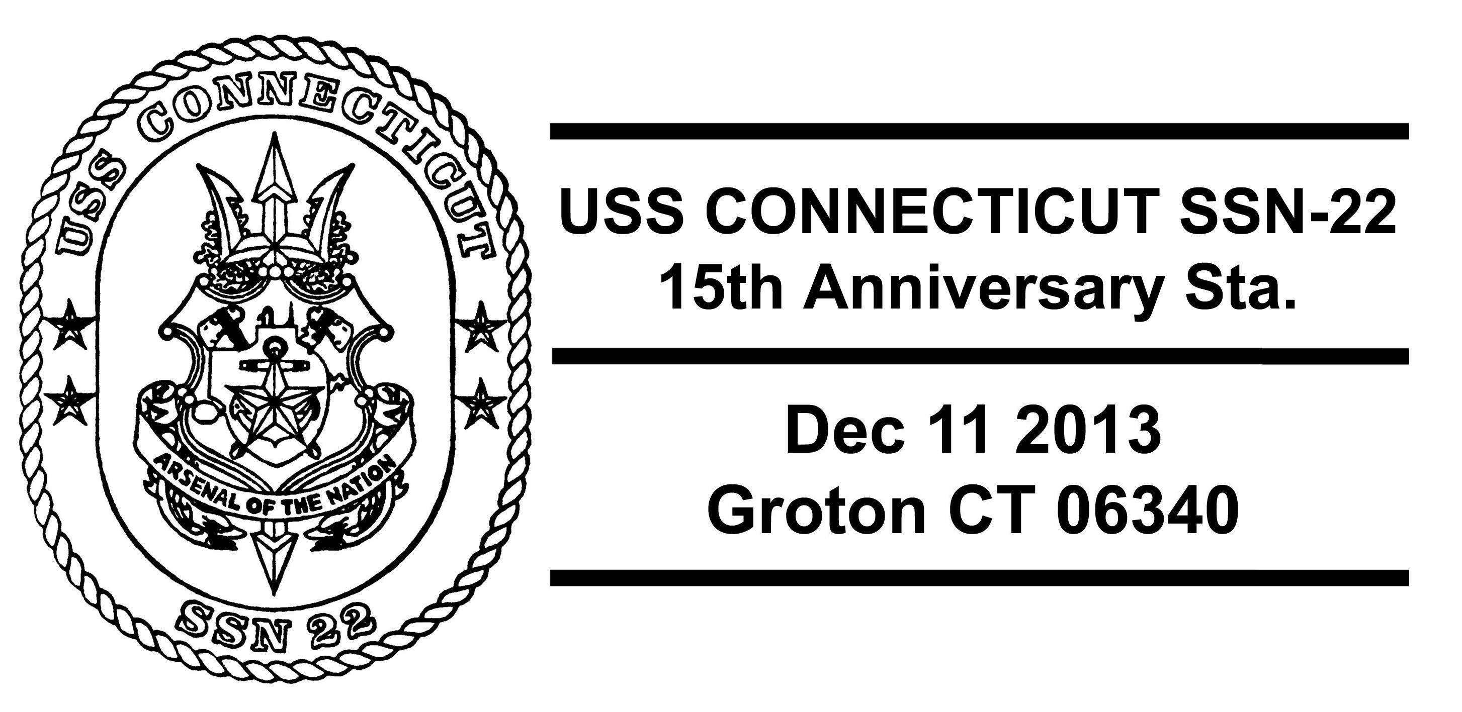 Sonderpoststempel USS CONNECTICUT SSN-22 15 Jahre im DienstDesign: Wolfgang Hechler