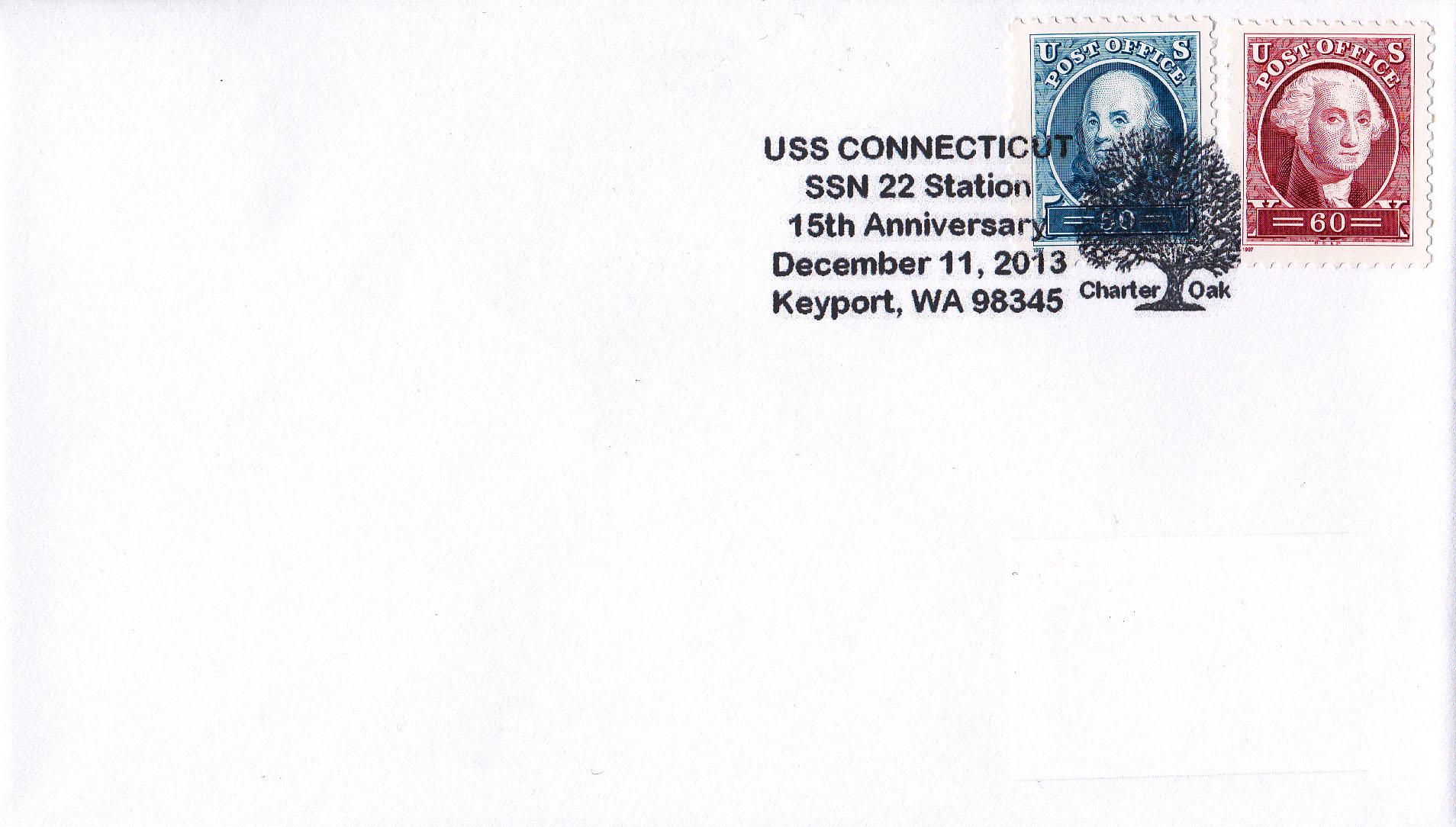 Beleg USS CONNECTICUT SSN-22 Sonderpoststempel  Keyport 15 Jahre im Dienst von Heinz Grasse