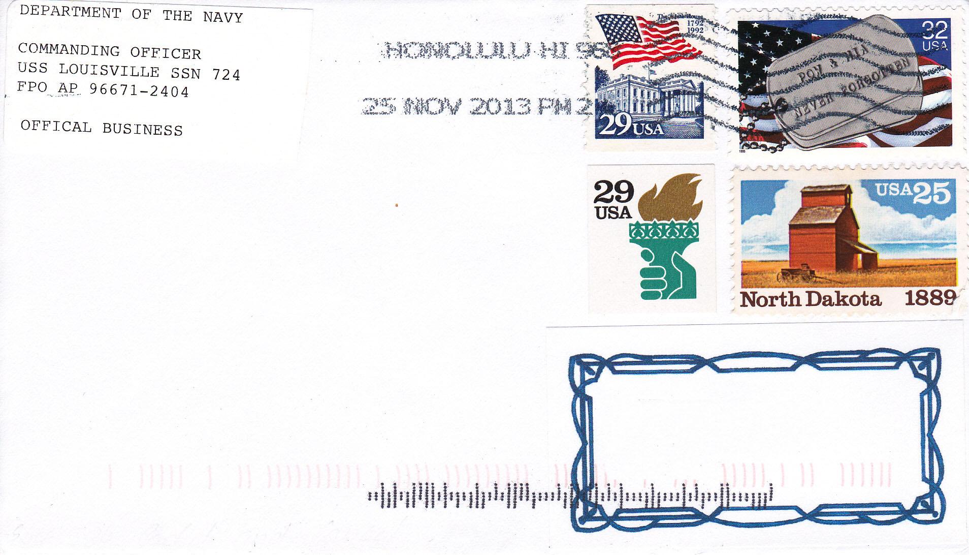 Beleg USS LOUISVILLE SSN-724 vom 25.11.2013 von Heinz Grasse