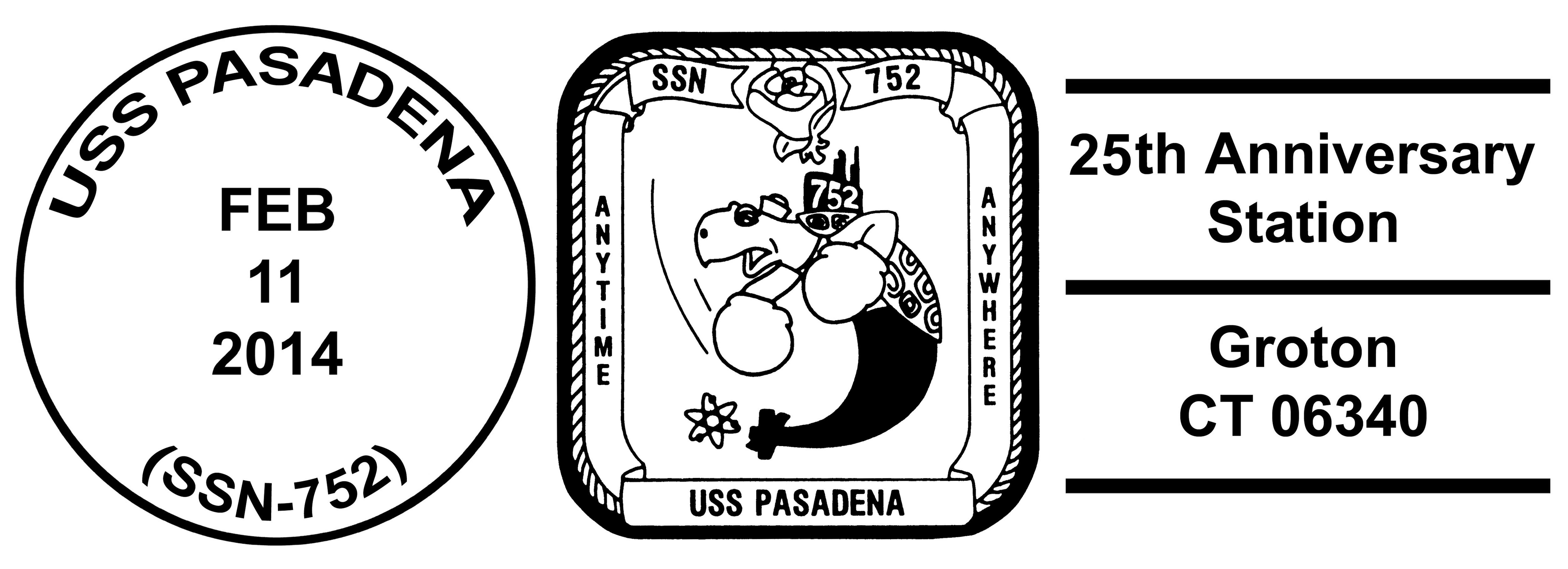 Sonderpoststempel USS PASADENA SSN-752 25 Jahre im DienstDesign: Wolfgang Hechler