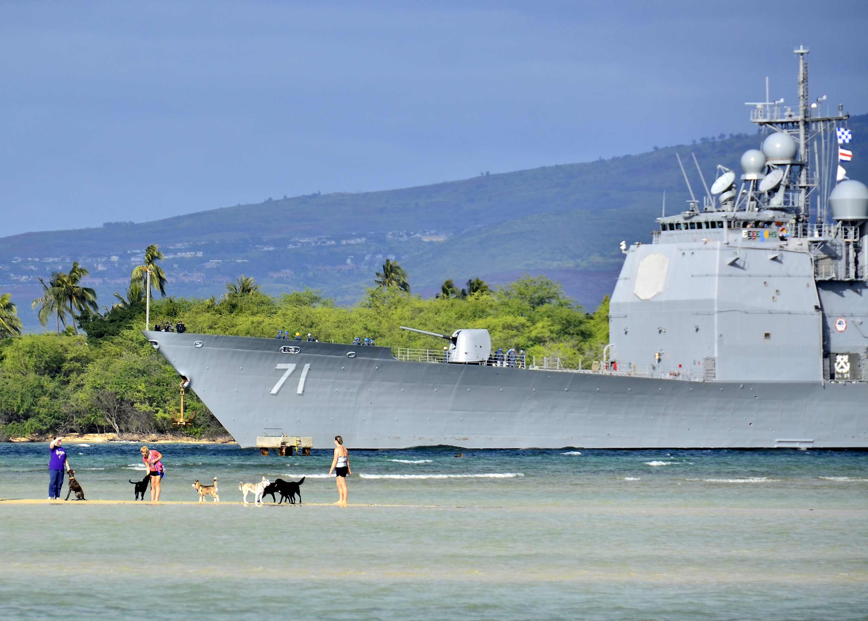 USS CAPE ST. GEORGE CG-71 am 25.01.2014 in Pearl Harbor Bild: U.S. Navy