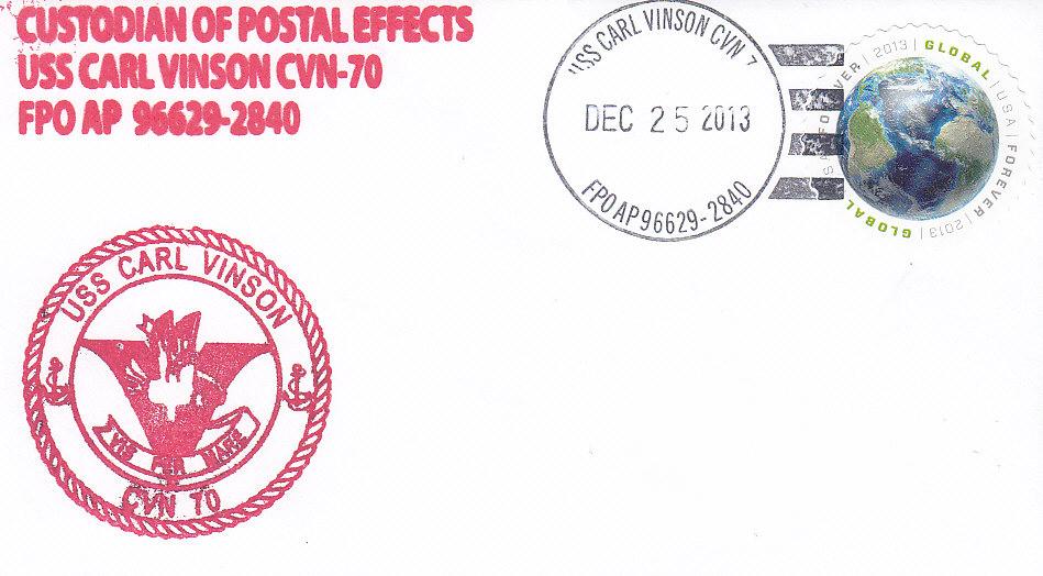 Beleg USS CARL VINSON CVN-70 Weihnachten 2013