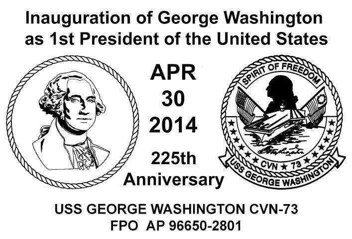 Sonderbordpoststempel USS GEORGE WASHINGTON CVN-73 am 30.04.2014 Design: Wolfgang Hechler