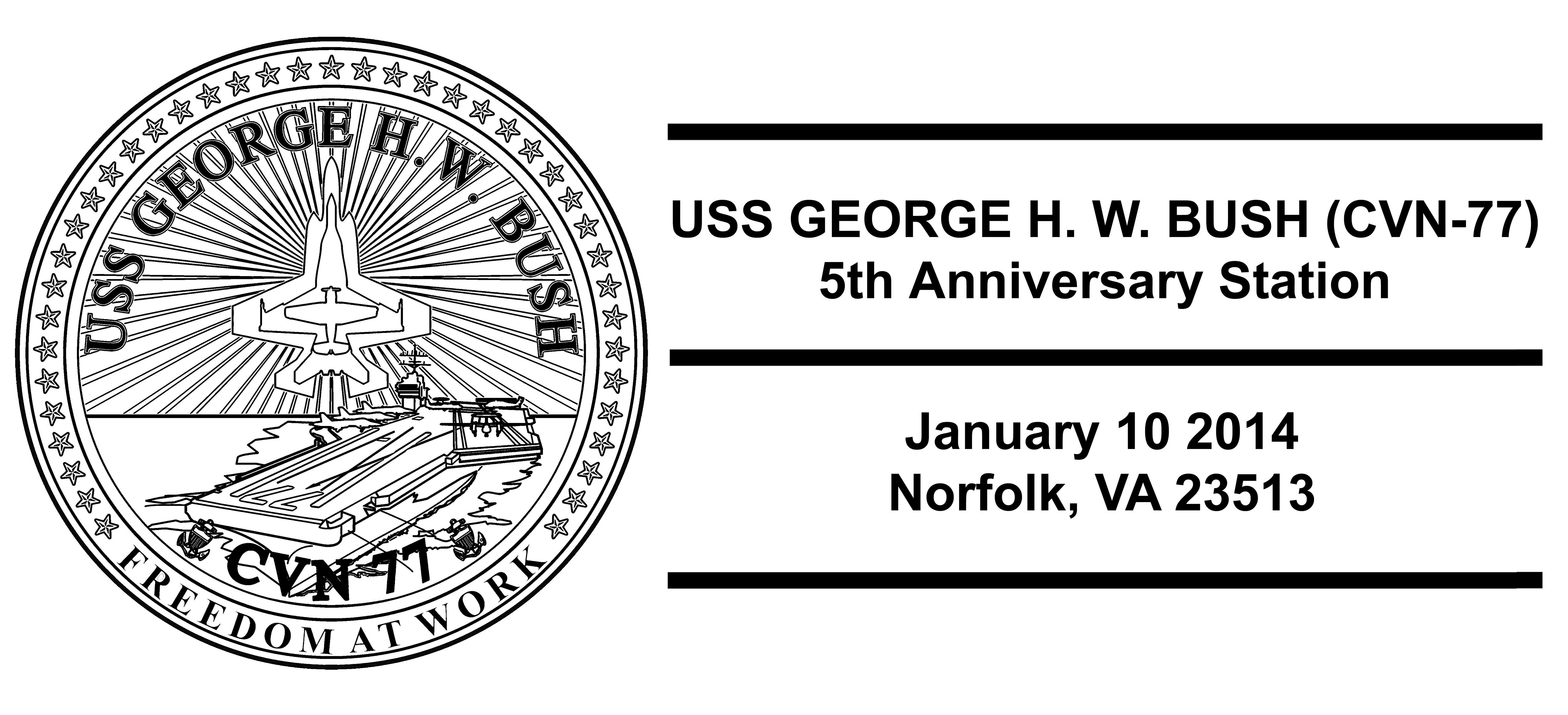 Sonderpoststempel USS GEORGE H.W. BUSH CVN-77 5 Jahre im Dienst Design: Wolfgang Hechler
