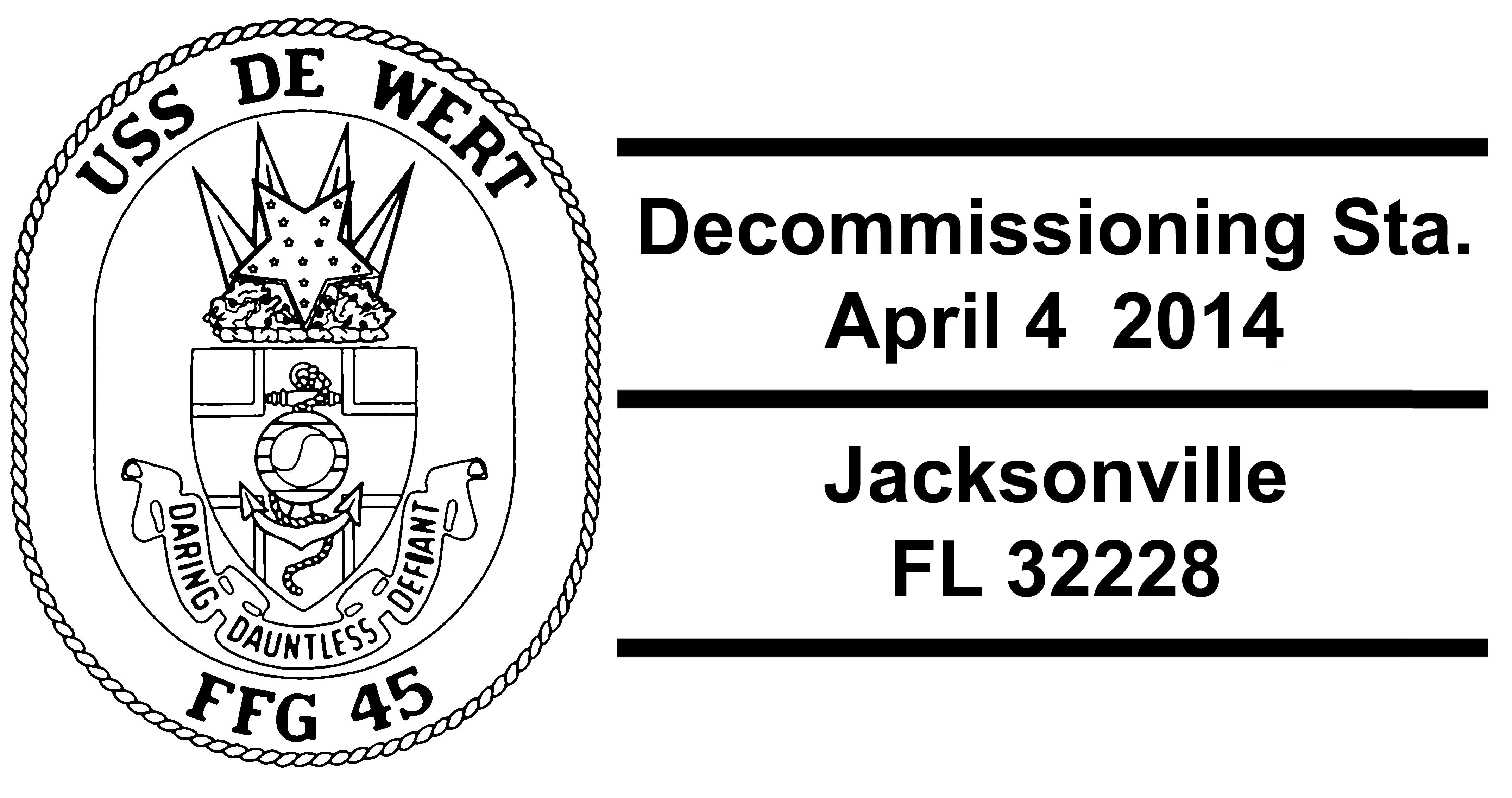 Sonderpoststempel USS DE WERT FFG-45 Decommissioning Design: Wolfgang Hechler
