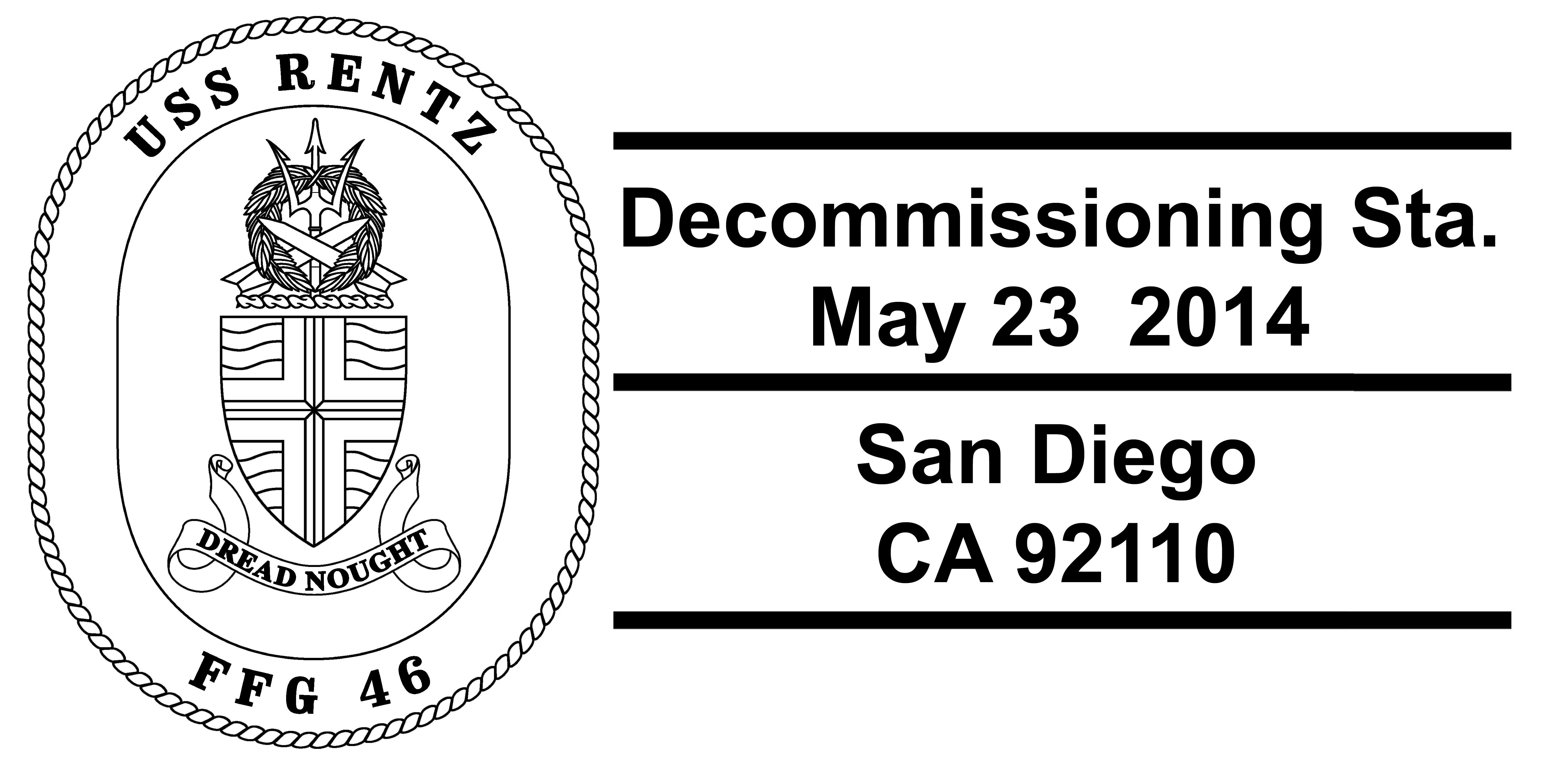 Sonderpoststempel USS RENTZ FFG-46 Decommissioning Design: Wolgang Hechler
