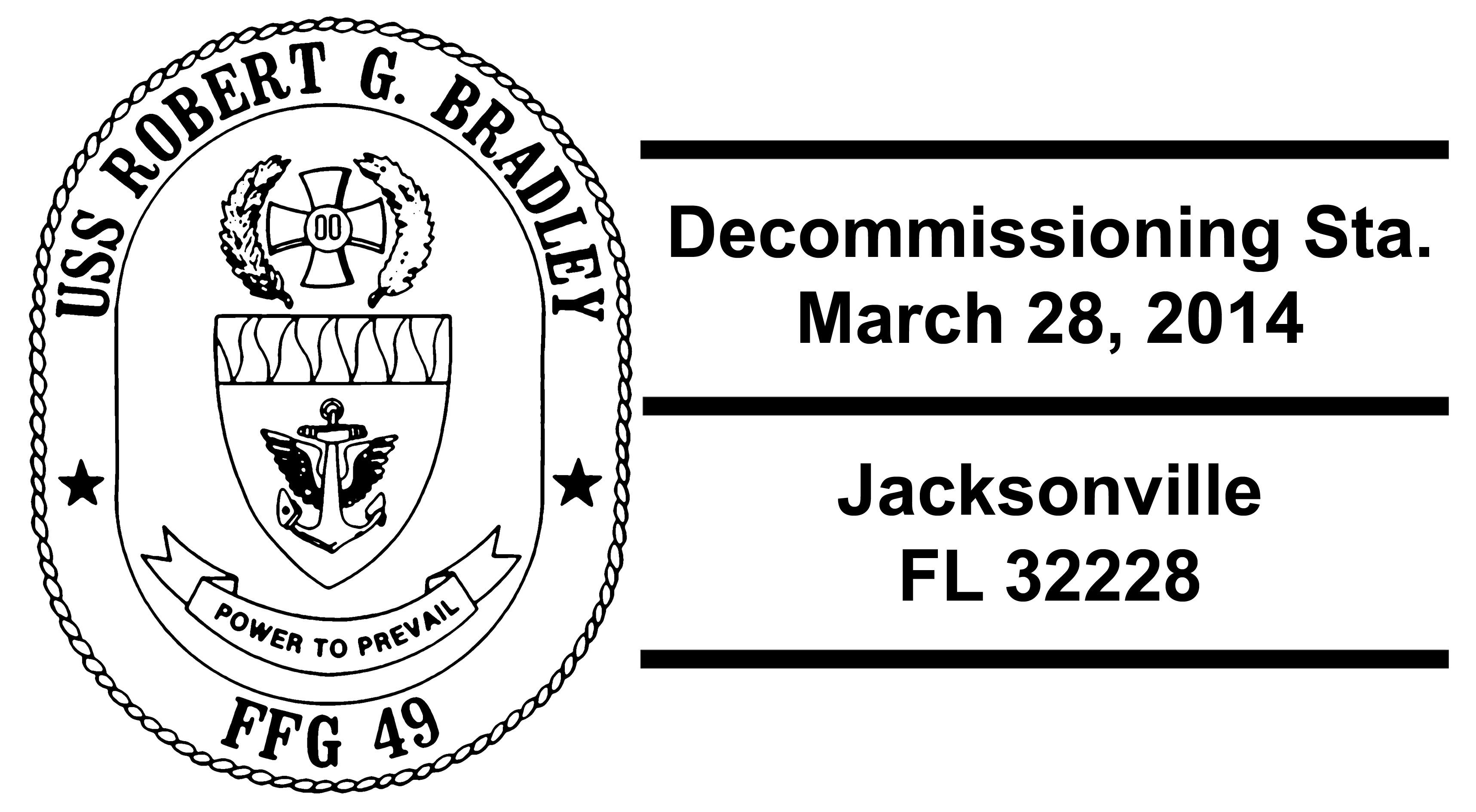 Sonderpoststempel USS ROBERT G. BRADLEY FFG-49 Decommissioning Design: Wolfgang Hechler