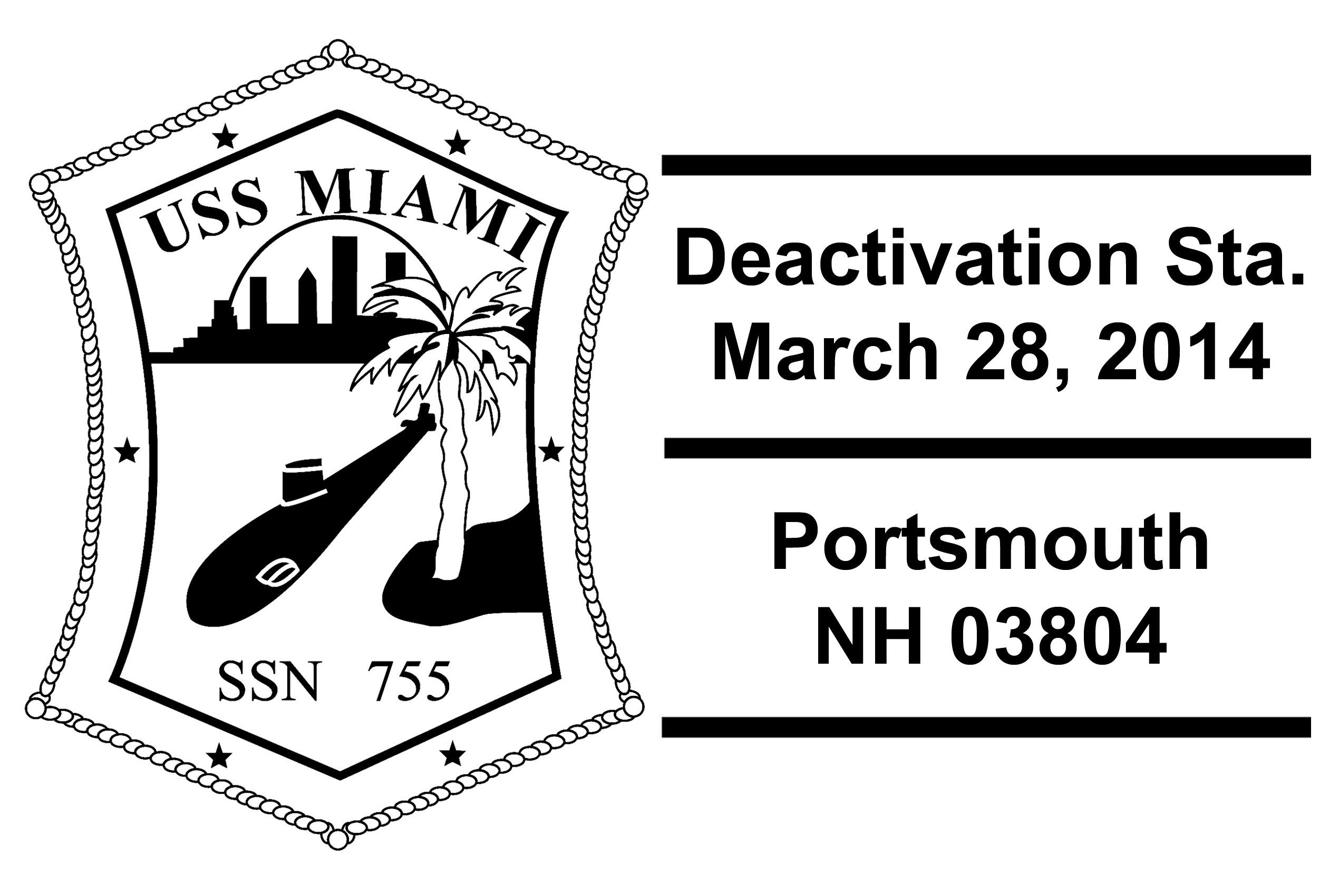 Sonderpoststempel USS MIAMI SSN-755 Inaktivierung Design: Wolfgang Hechler