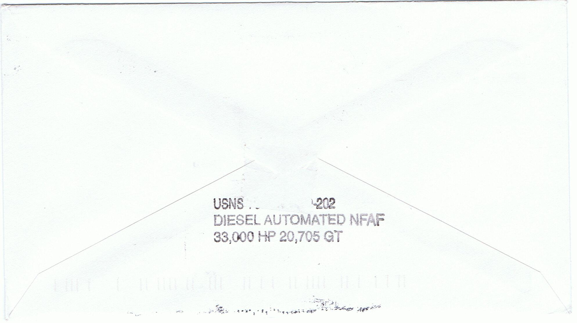 Beleg USNS YUKON T-AO 202 Rückseite von Dirk Rüstau