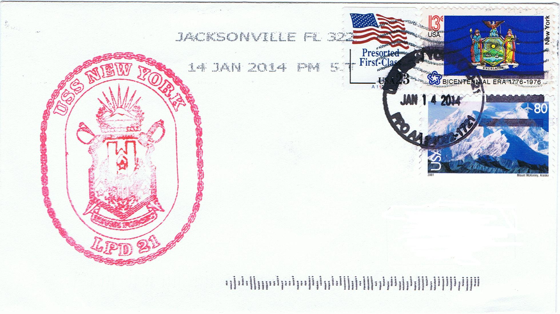 Beleg USS NEW YORK LPD-21 vom 14.01.2014 von Dirk Rüstau