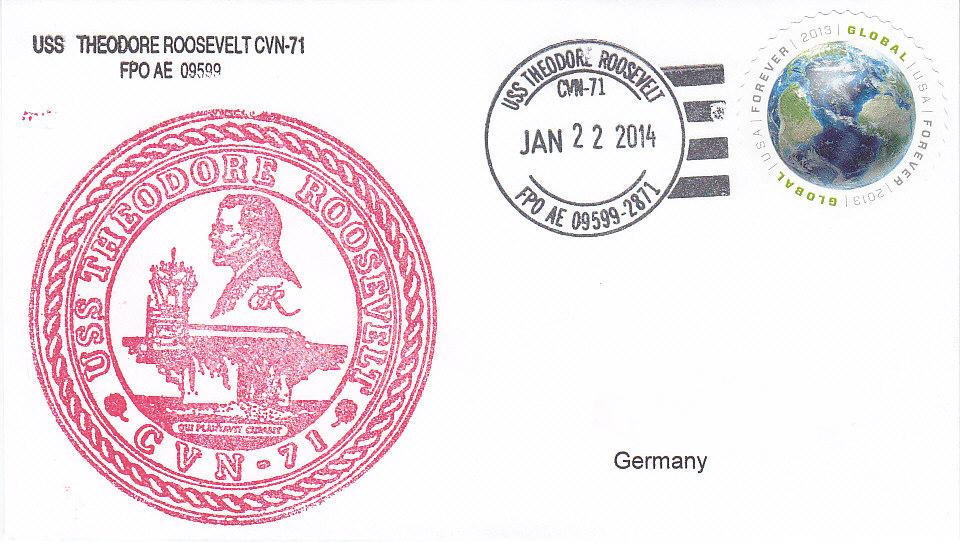Beleg USS THEODORE ROOSEVELT CVN-71 vom 22.01.2014