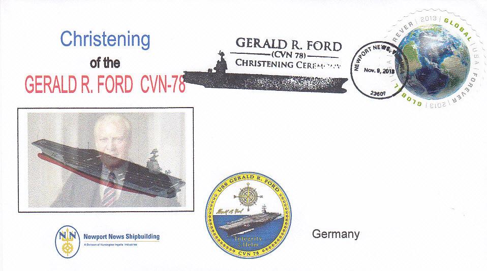 Beleg USS GERALD R. FORD CVN-78 Christening Newport News Shipbuilding