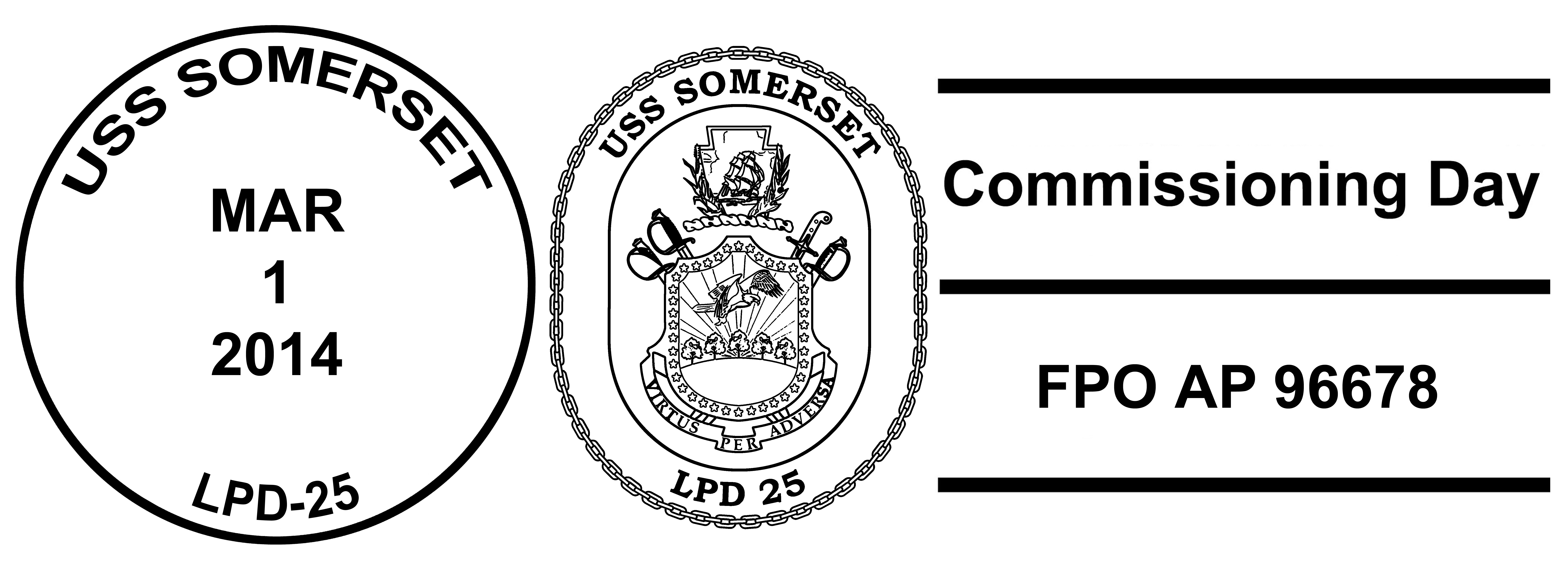 Sonderbordpoststempel USS SOMERSET LPD-25 Indienststellung Design: Wolfgang Hechler