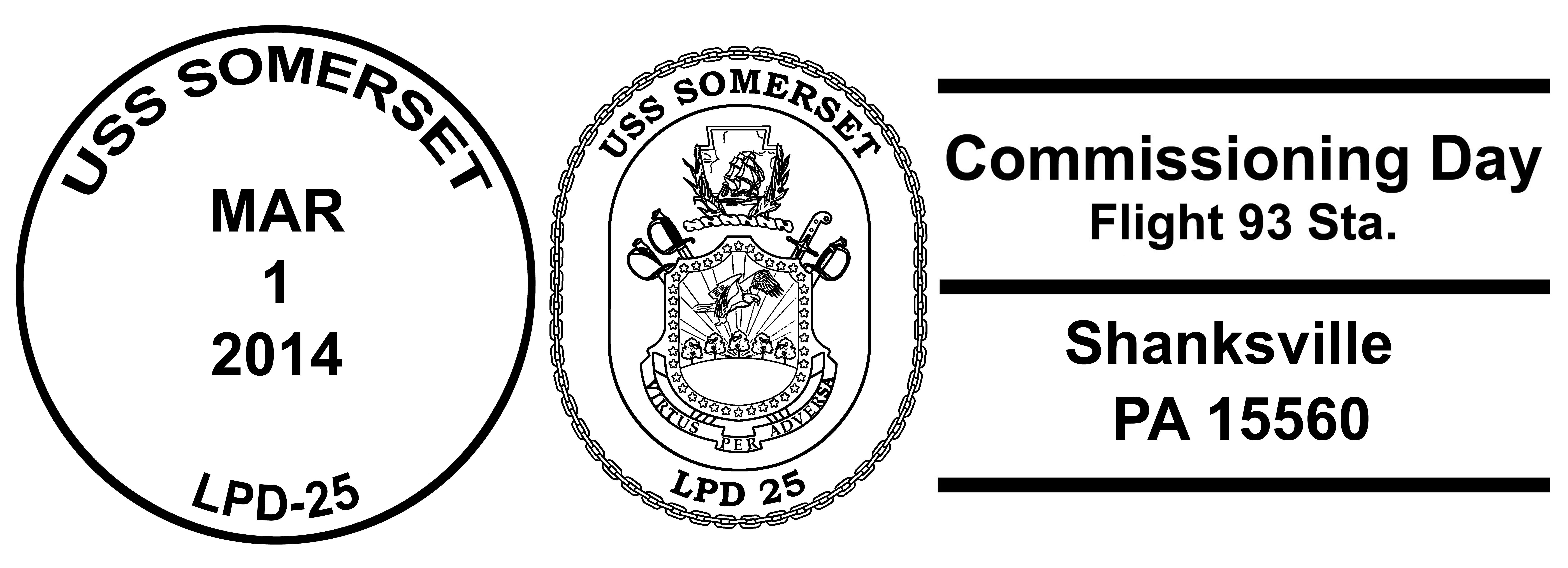 Sonderpoststempel USS SOMERSET LPD-25 Indienststellung Shanksville Design: Wolfgang Hechler