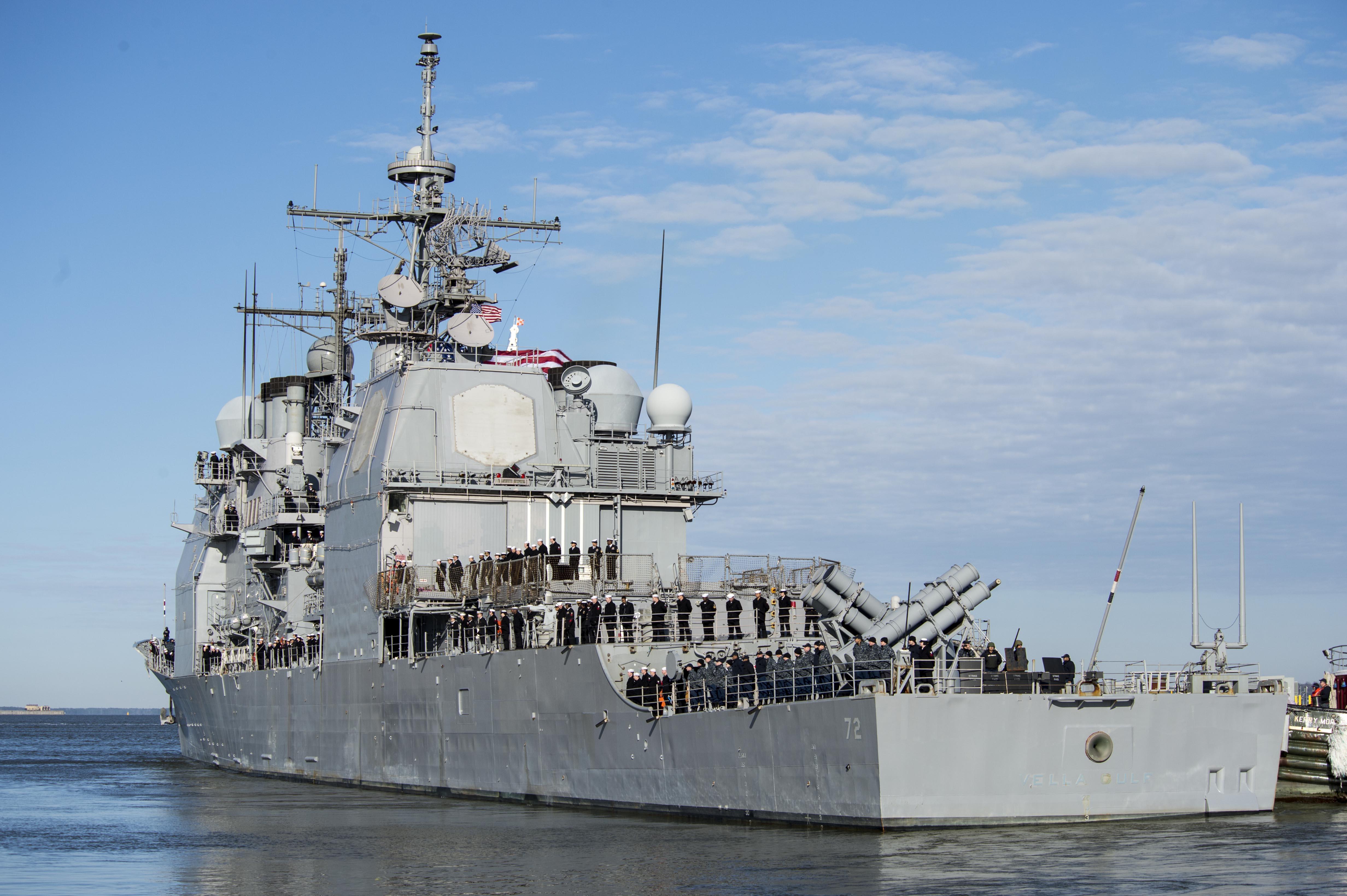 USS VELLA GULF CG-72 Auslaufen Norfolk 14.03.2014 Bild: U.S. Navy