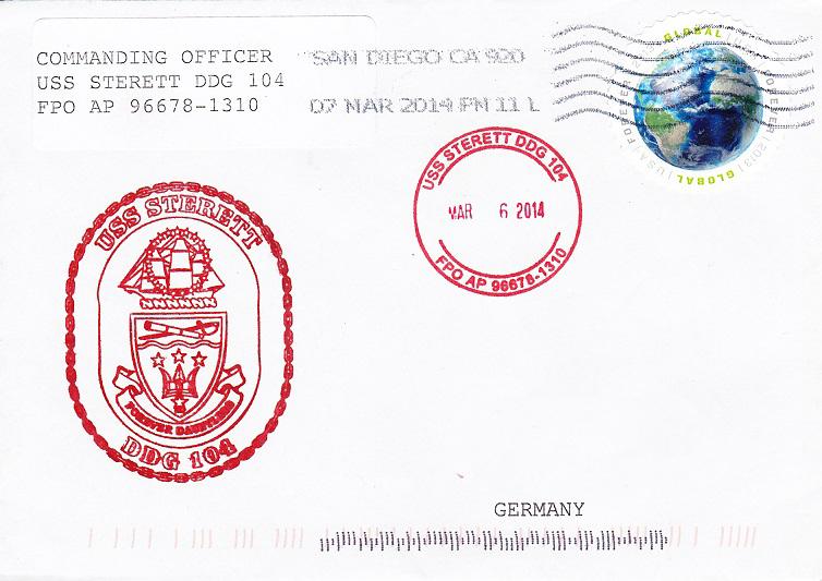 Beleg USS STERETT DDG-104 vom 06.03.2014 von Daniel Gornig