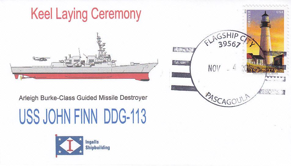 Beleg USS JOHN FINN DDG-113 Keel Laying Ceremony