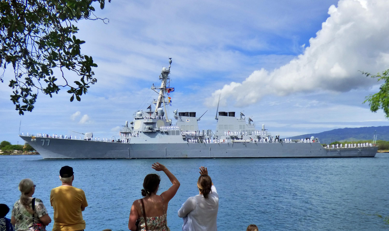 USS O`KANE DDG-77 Auslaufen Pearl Harbor am 07.03.2014 Bild: U.S. Navy