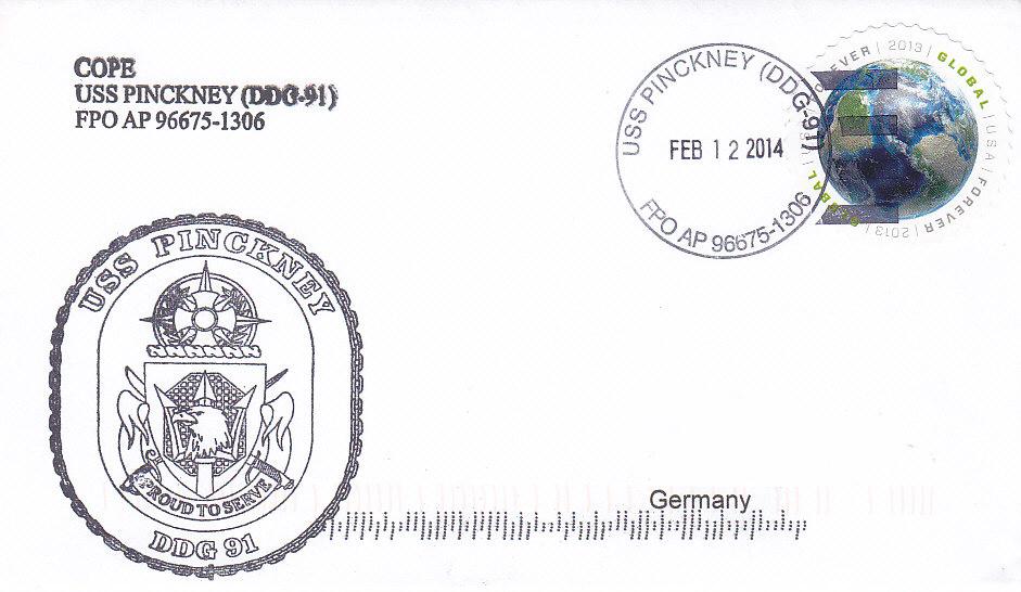 Beleg USS PINCKNEY DDG-91 vom 12.02.2014
