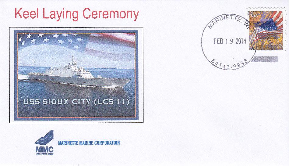 Beleg USS SIOUX CITY LCS-11 Kiellegung