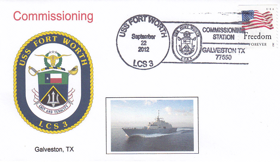 Beleg USS FORT WORTH LCS-3 Indienststellung Galveston