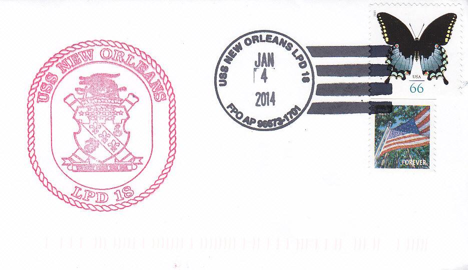 Beleg USS NEW ORLEANS LPD-18 vom 04.01.2014
