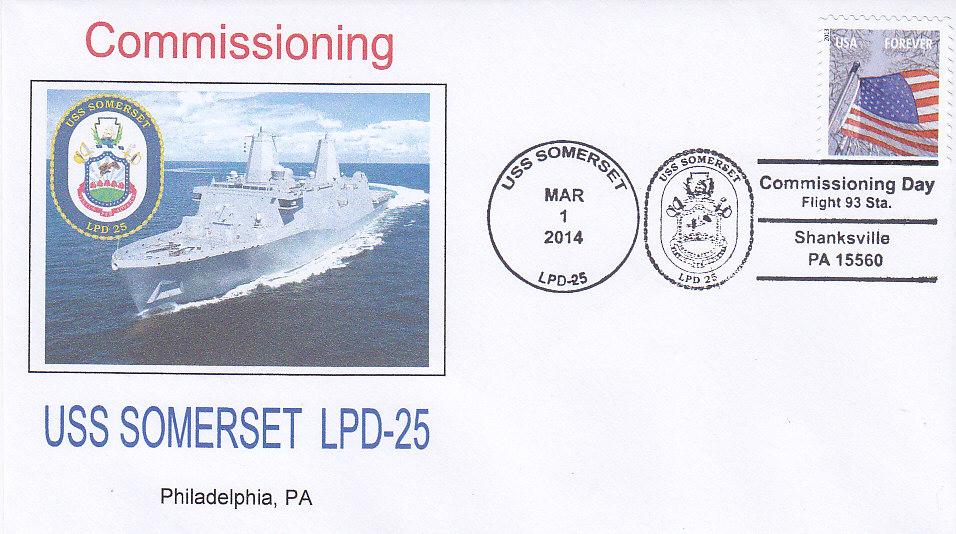 Beleg USS SOMERSET LPD-25 Indienststellung Shanksville
