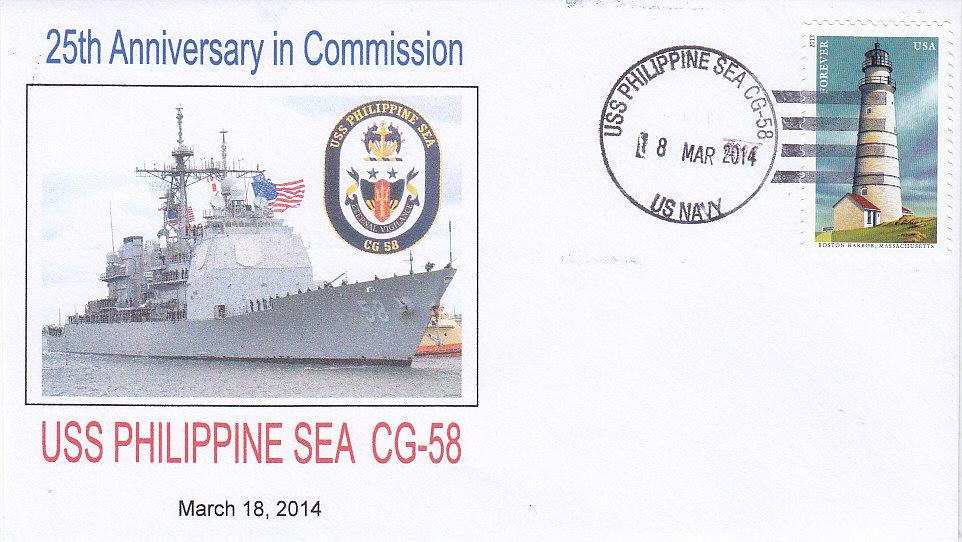 Beleg USS PHILIPPINE SEA CG-58 25 Jahre im Dienst