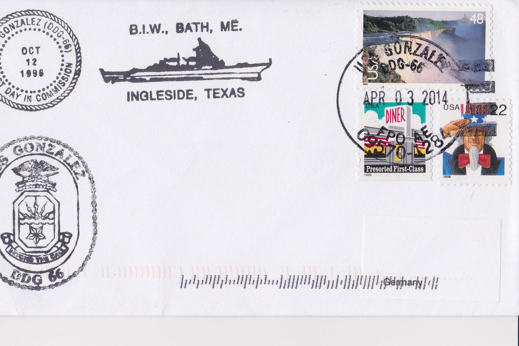 Beleg USS GONZALEZ DDG-66 vom 03.04.2014 von Heinz Grasse