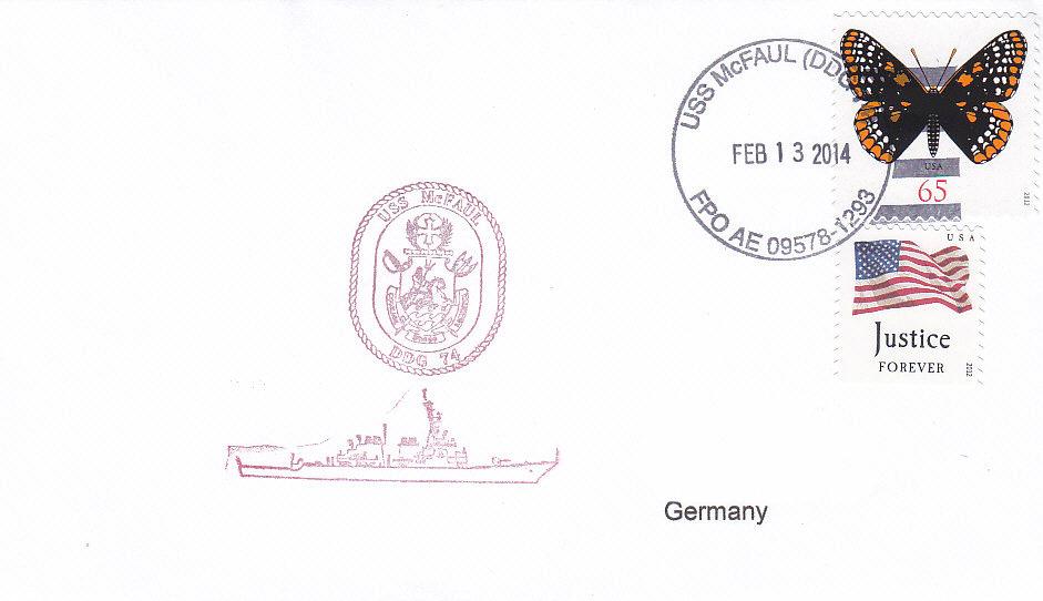 Beleg USS McFAUL DDG-74 vom 13.02.2014