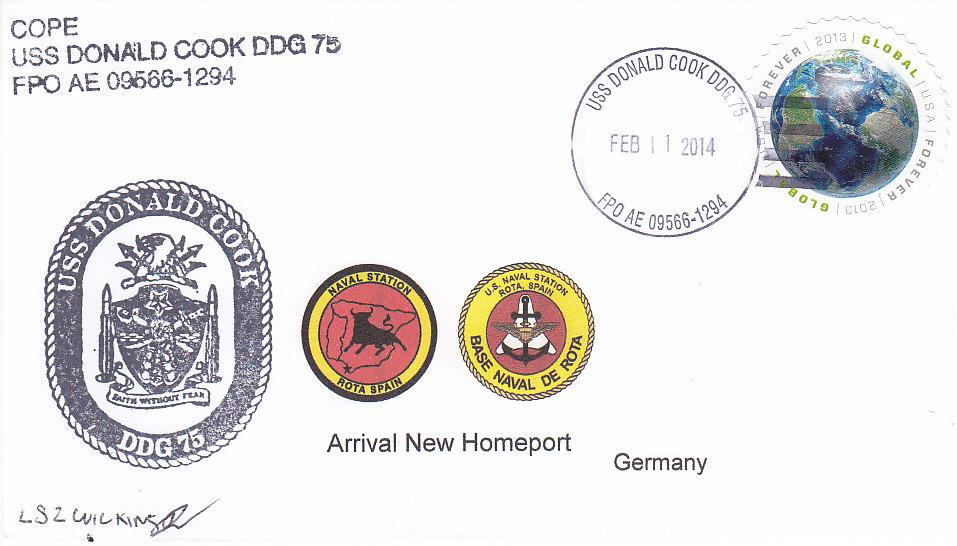 Beleg USS DONALD COOK DDG-75 Einlaufen Rota
