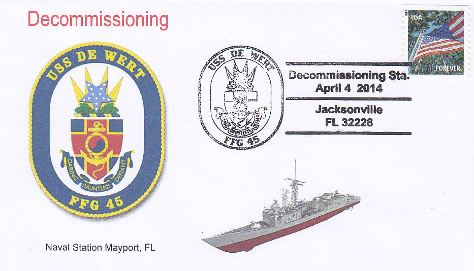 Beleg USS DE WERT FFG-45 Decommissioning
