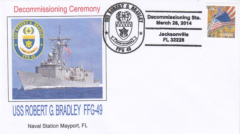 Beleg USS ROBERT G. BRADLEY FFG-49 Decommissioning