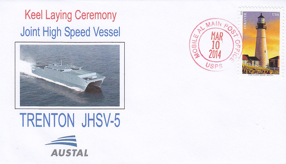 Beleg USNS TRENTON JHSV-5 Kiellegung