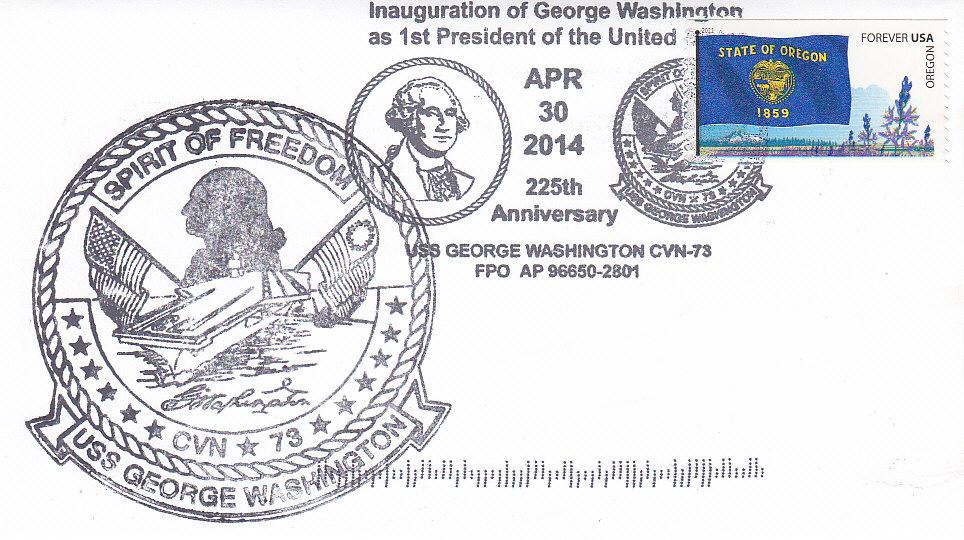 Beleg USS GEORGE WASHINGTON CVN-73 Sonderbordpoststempel 30.04.2014