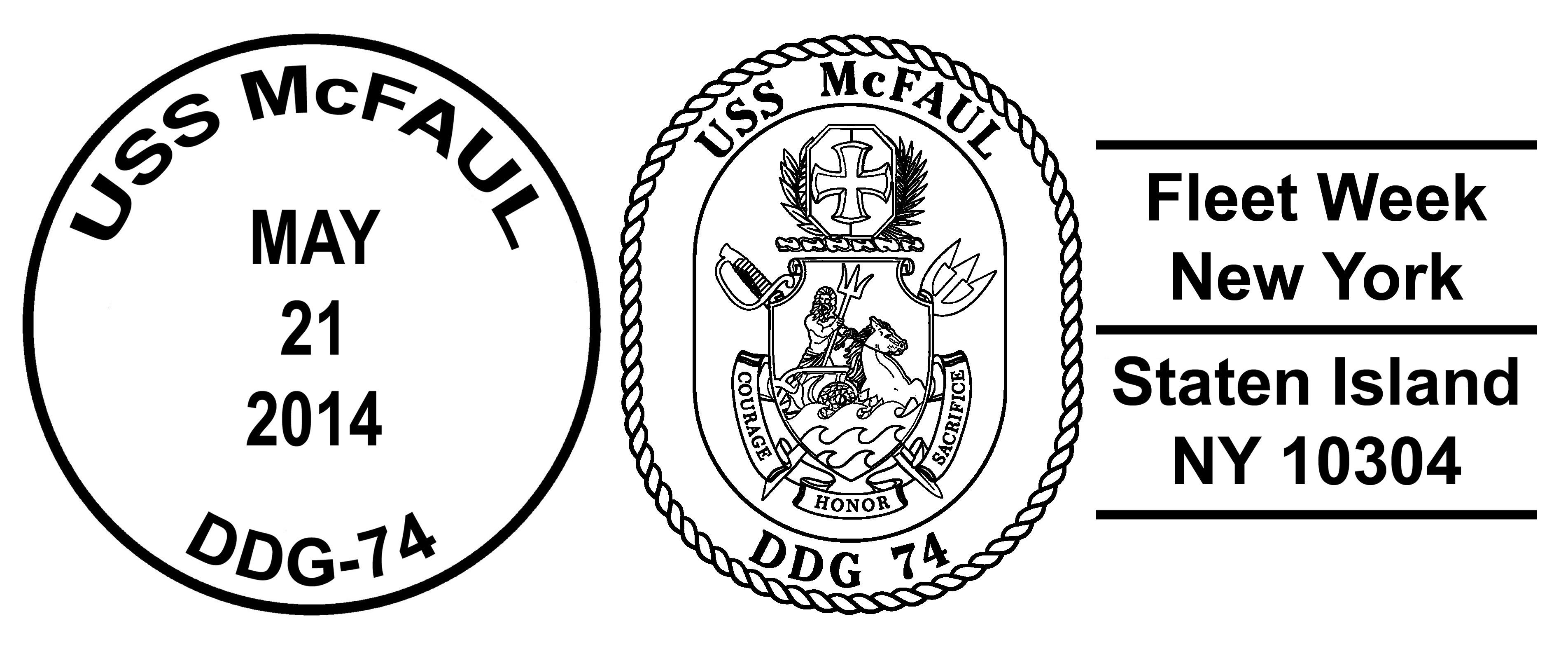Sonderpoststempel USS McFAUL Fleet Week New York 2014 Design: Wolfgang Hechler