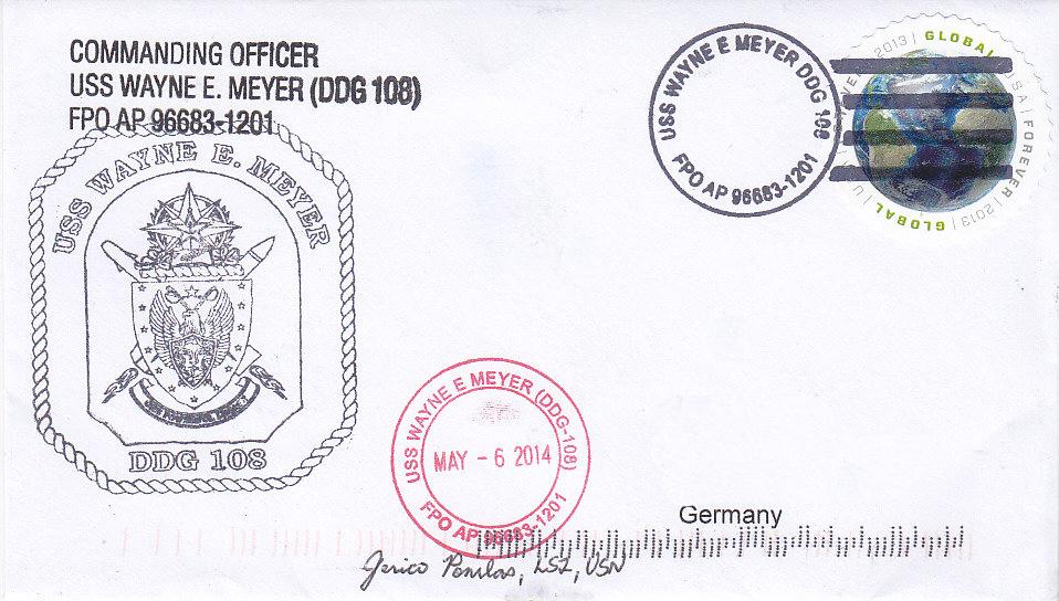 Beleg USS WAYNE E. MEYER DDG-108 vom 06.05.2014