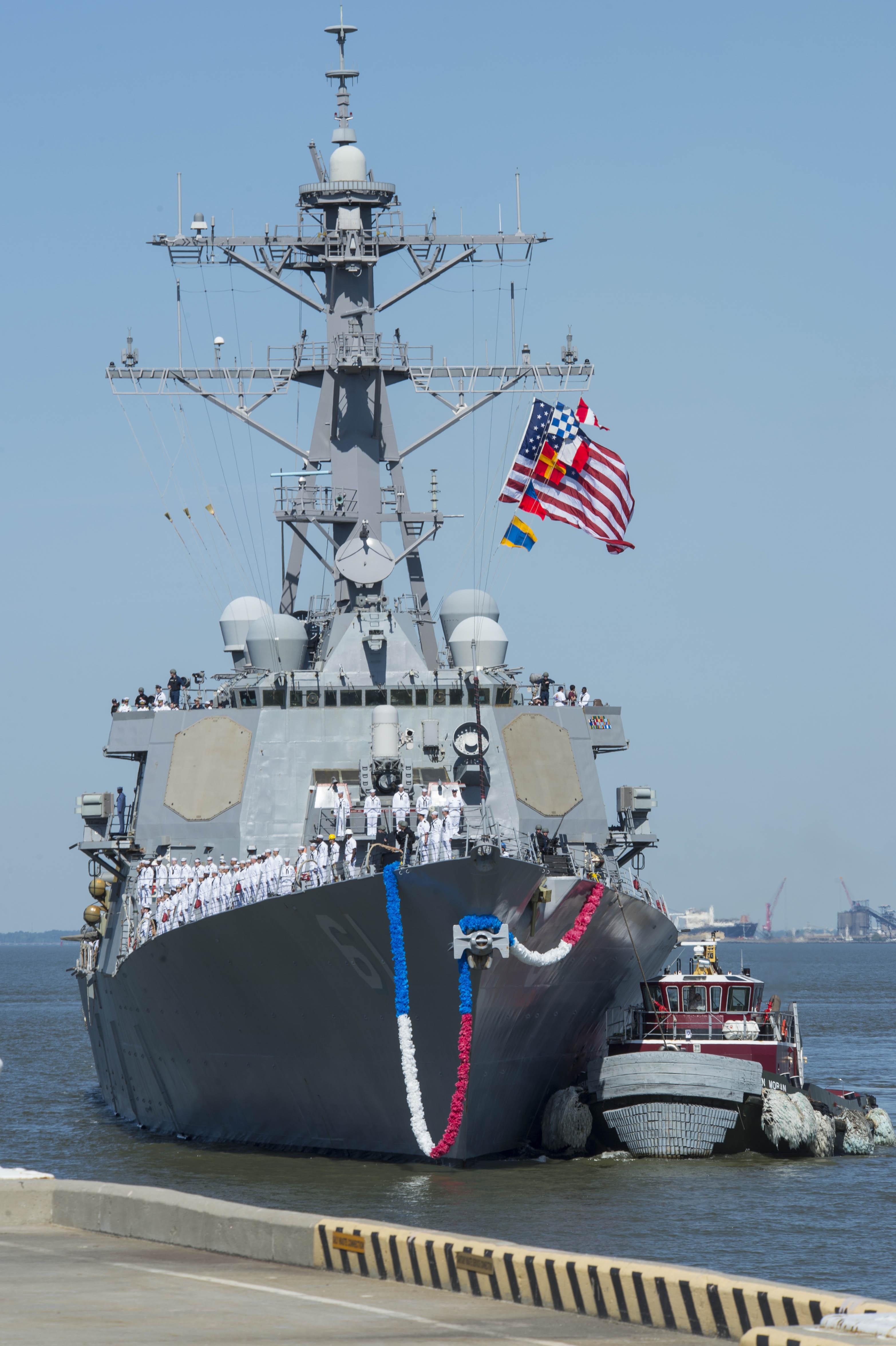 USS RAMAGE DDG-61 Einlaufen Norfolk am 04.05.2014 Bild: U.S. Navy