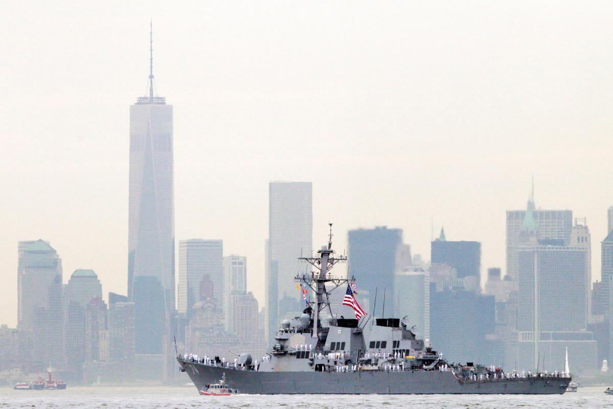 USS McFAUL DDG-74 Einlaufen New York am 21.05.2014 Bild: AP