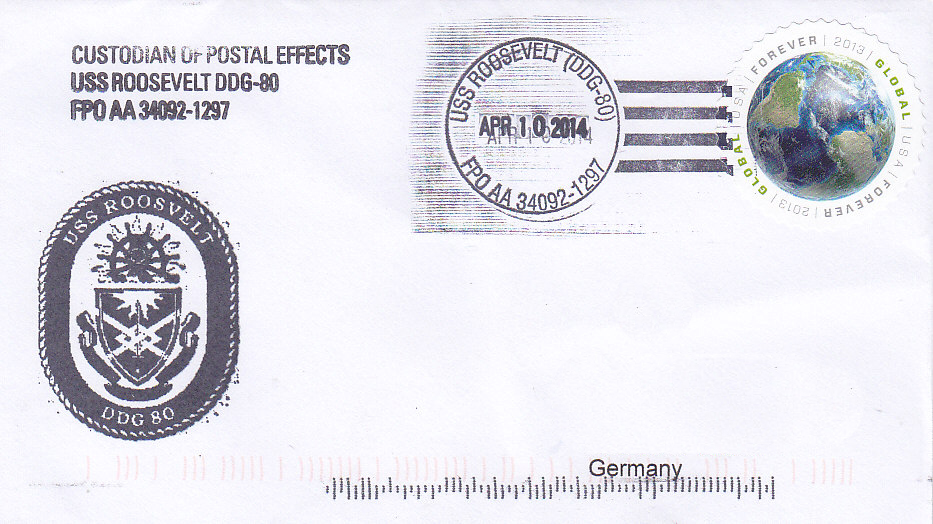 Beleg USS ROOSEVELT DDG-80 vom 10.04.2014