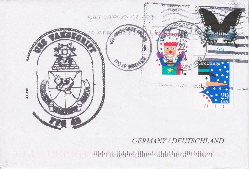 Beleg USS VANDEGRIFT FFG-48 vom 22.04.2014 von Heinz Greger