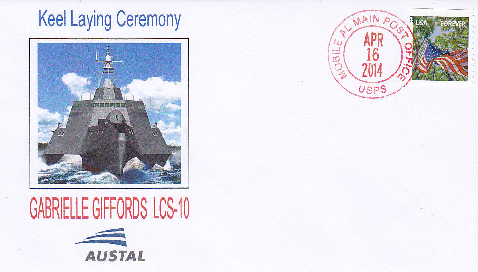 Beleg USS GABRIELLE GIFFORDS LCS-10 Kiellegung