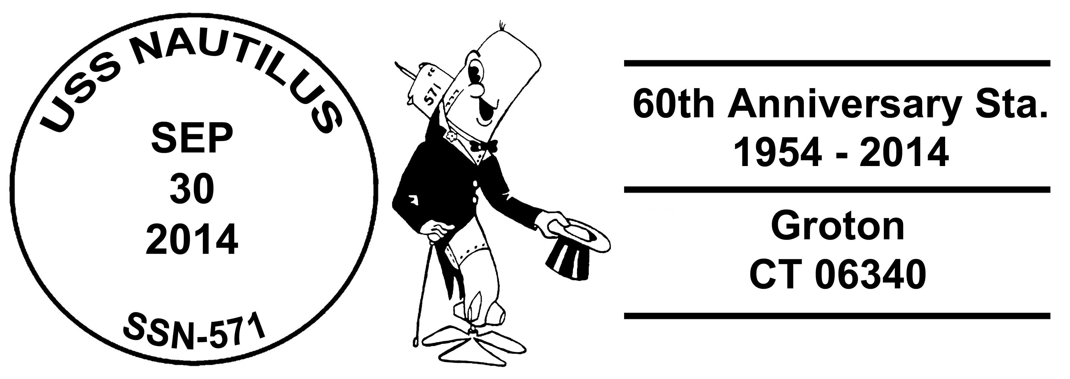 Sonderpoststempel USS NAUTILUS SSN-571 zum 60. Jahrestag der Indienststellung Design: Wolfgang Hechler