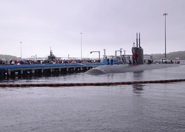 USS SAN JUAN SSN-751 Einlaufen Groton am 16.05.2014 Bild: Naval Submarine Base New London Facebook page