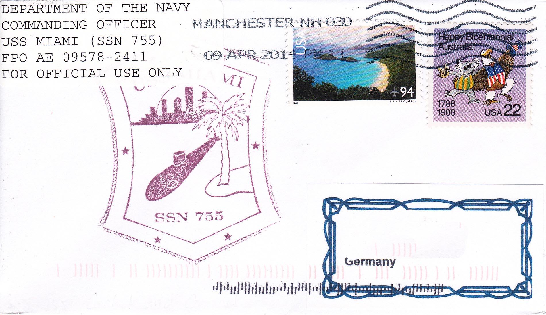 Beleg USS MIAMI SSN-755 vom 09.04.2014 von Heinz Grasse