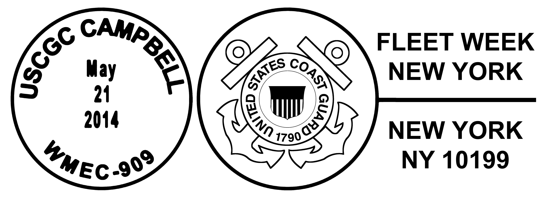 Sonderpoststempel USCGC CAMPBELL WMEC-909 Fleet Week New York 2014 Design: Wolfgang Hechler