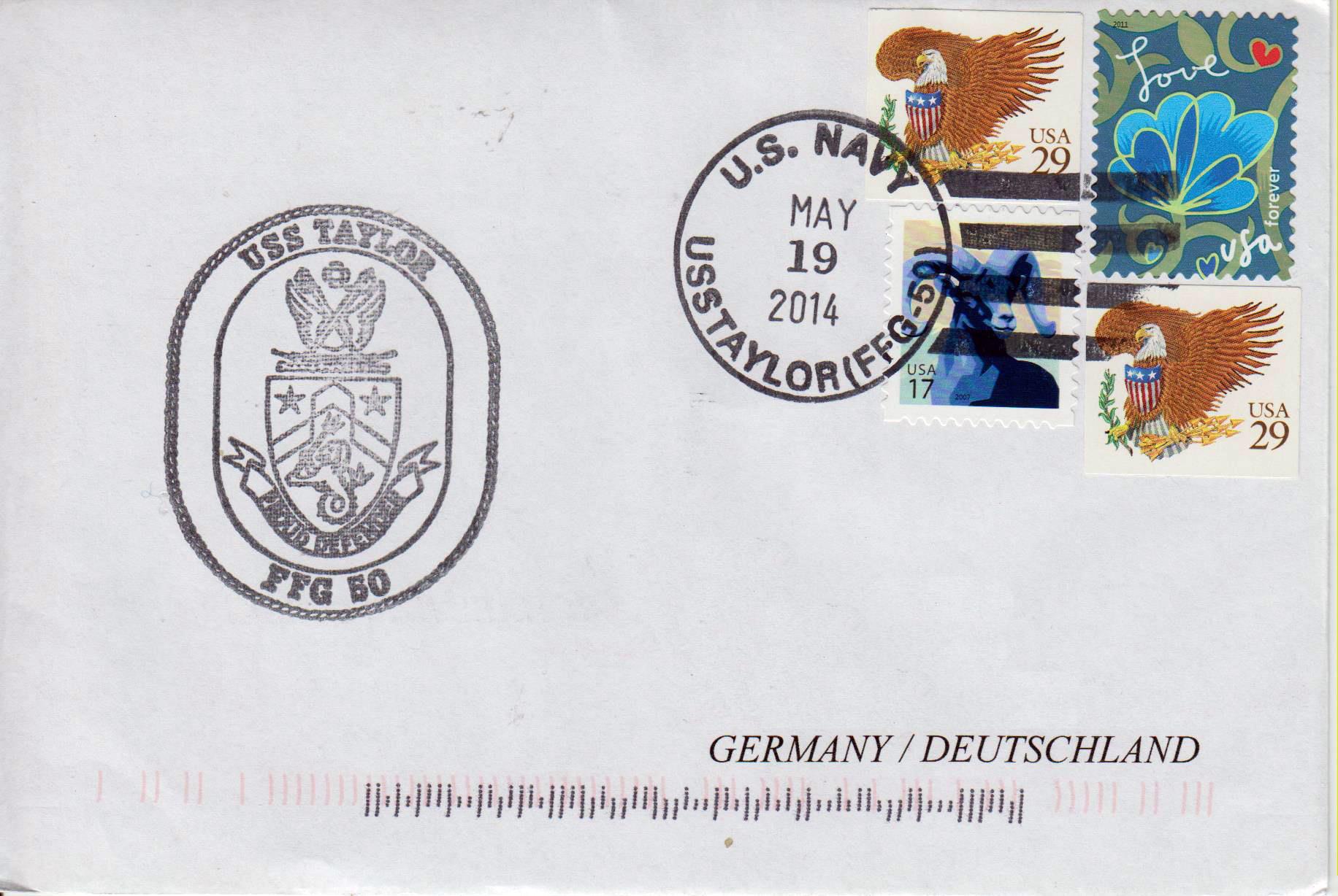 Beleg USS TAYLOR FFG-50 vom 19.05.2014 von Heinz Greger